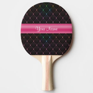Chic Quilted Pink Black Colorful Personalized Ping Pong Paddle