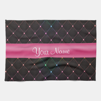 Chic Quilted Pink Black Colorful Personalized Tea Towel