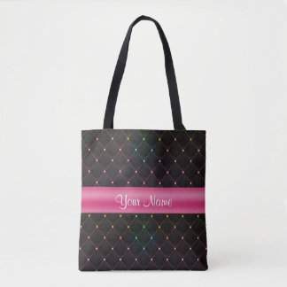 Chic Quilted Pink Black Colorful Personalized Tote Bag
