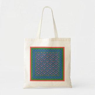 Chic Rangoli Flowers, Polka Dots Budget Tote Bag