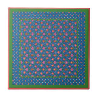 Chic Rangoli Flowers, Polka Dots Ceramic Tile