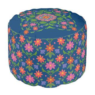 Chic Rangoli Flowers Polka Dots on Blue Round Pouf