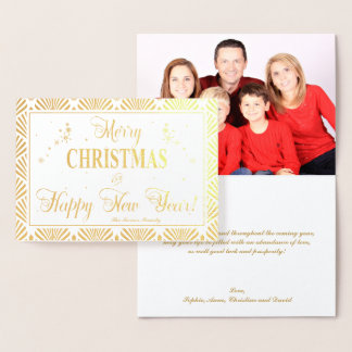 Chic Real Gold Holidays Season Wishes Custom Photo Foil Card