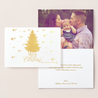 Chic Real Gold Merry Christmas Wishes Custom Photo Foil Card