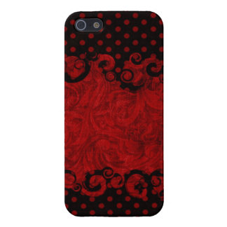 Chic Red and Black Damask iPhone 5 Cover