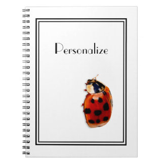 Chic Red and Black Spotted Ladybug With Name Notebook