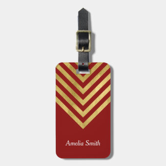 Chic Red and Faux Gold Geometric Luggage Tag
