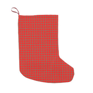 Chic Red and Green Square Pattern Small Christmas Stocking