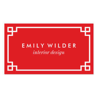 Chic Red and White Greek Key Pack Of Standard Business Cards