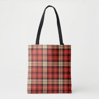 Chic Red, Black and Tan Tartan Plaid Tote Bag