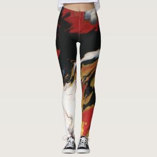 Chic Red Black & Gold Leggings