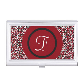 Chic Red Black & White Monogram Initial on Pattern Business Card Holders