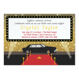 Chic Red Carpet Glam Hollywood Party Girl Birthday 11 Cm X 16 Cm Invitation Card
