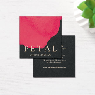 Chic Red Floral Watercolor Rose Petal Beauty Square Business Card