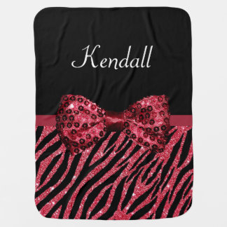 Chic Red Glitter Zebra Print Luxe Bow With Name Pram blanket