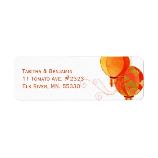 Chic Red Lanterns Wedding Return Address Return Address Label