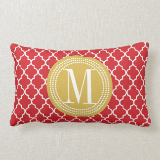 Chic Red Moroccan Lattice Personalized Lumbar Pillow