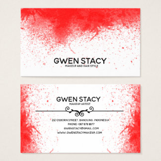 Chic Red Paint Splash on Plain White Business Card