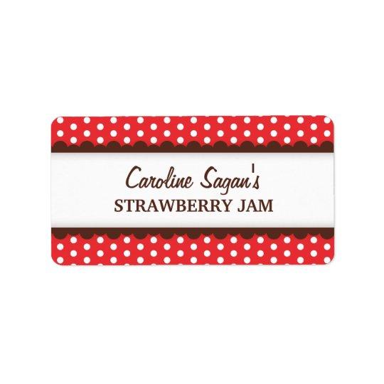 Chic red polka dot dots pattern canning jar label