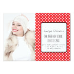 "Chic Red Polka Dots Graduation 5"" X 7"" Invitation Card"