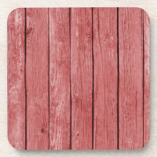 Chic Red Rustic Wood Coasters