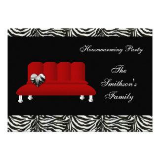 chic red sofa party Invitation