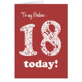 Chic Red, White 18th Birthday for Godson Card