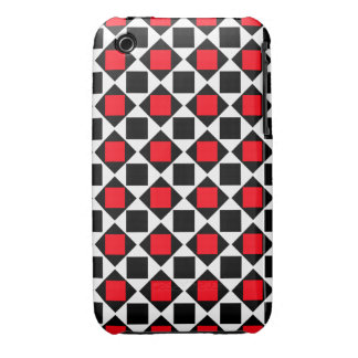 chic red white black pattern iPhone 3 cover