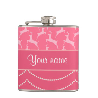 Chic Reindeer and Hanging Lights Personalized Hip Flask
