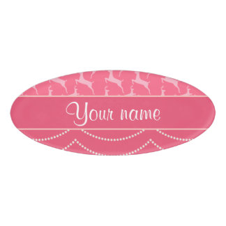 Chic Reindeer and Hanging Lights Personalized Name Tag