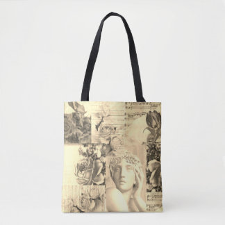 Chic retro collage  bag for beach or shopping