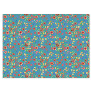 Chic Retro Ditsy Floral on Teal Tissue Paper