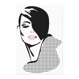 Chic retro dots fashion girl canvas print