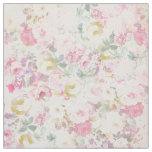 Chic retro pink white watercolor floral pattern fabric