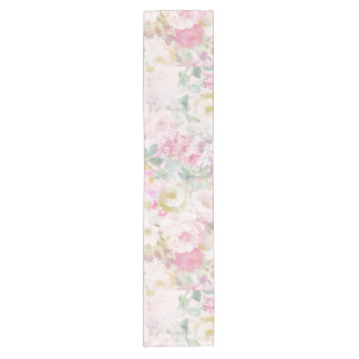 Chic retro pink white watercolor floral pattern short table runner