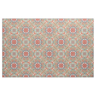 Chic Retro Red Turquoise Teal Kaleidoscope Pattern Fabric