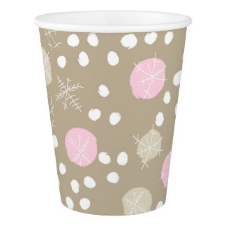 Chic Retro Snow Pattern Holiday Party Cups
