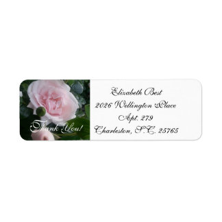 "CHIC-RETURN ADDRESS LABEL_""Thank You!"" PIINK ROSES Return Address Label"