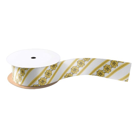 "CHIC RIBBON_PANTON ""PRIMROSE YELLOW"" STRIPES/BOWS SATIN RIBBON"