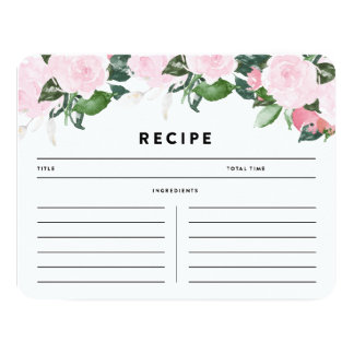 Chic Romance | Recipe Card 11 Cm X 14 Cm Invitation Card