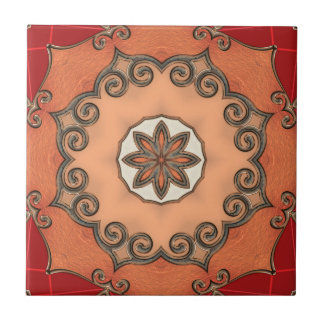 Chic Romantic Floral Geometric Design Tile
