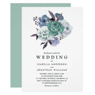 Chic Romantic Floral Watercolor Spring Wedding Card