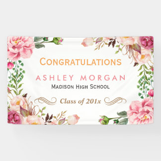 Chic Romantic Floral Wrapped Graduation Party Banner