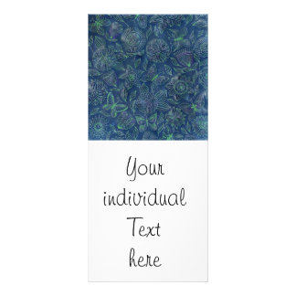 Chic romantic flower Pattern,blue Customised Rack Card