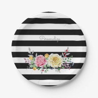 Chic Rose Floral Trendy Black Stripes and Name Paper Plate