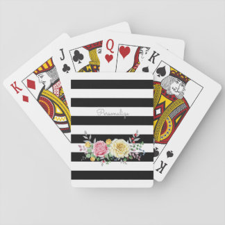 Chic Rose Floral Trendy Black Stripes and Name Playing Cards
