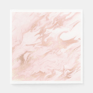 Chic Rose Gold and Blush Marbled Paper Napkins