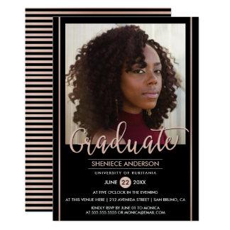 Chic Rose Gold & Black Graduation   Custom Photo Card