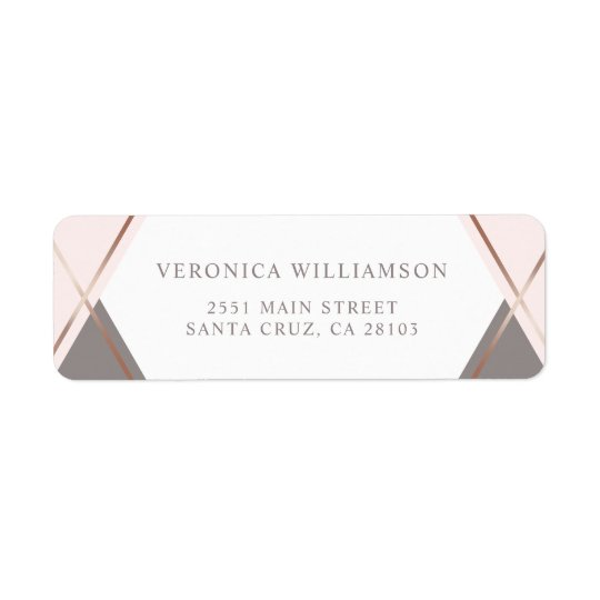 Chic Rose Gold & Blush Pink Geometric Wedding Return Address Label