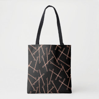 Chic Rose Gold Bobby Pins Black Tote Bag
